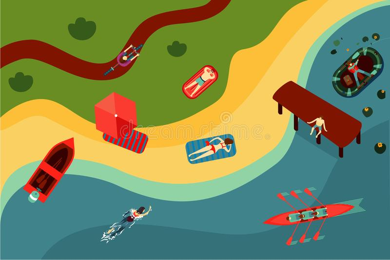 bech的顶视图与人的 湖和河岸 在夏令营的假日旅游活动 库存例证