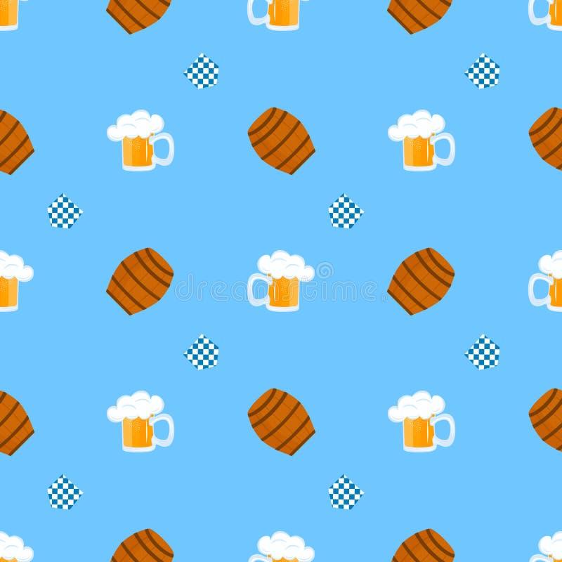 Becher Bier mit Schaumgummi H?lzernes Fass f?r Wein Traditionelles deutsches Geb?ck Nationale Nahrung zu Oktoberfest nahtlos vektor abbildung