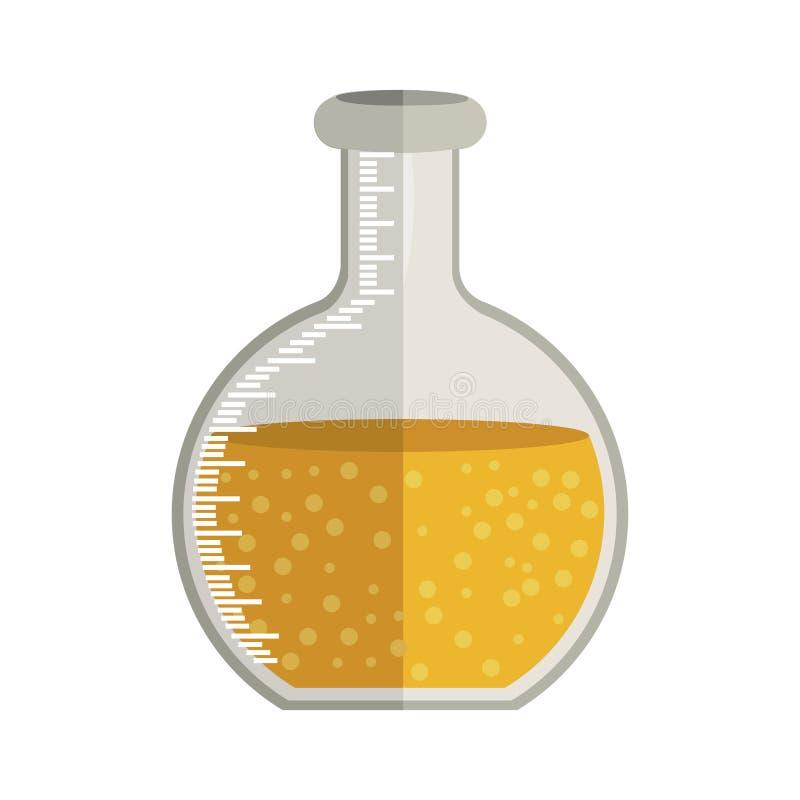 Becher circulaire en verre pour le laboratoire avec la solution liquide illustration libre de droits