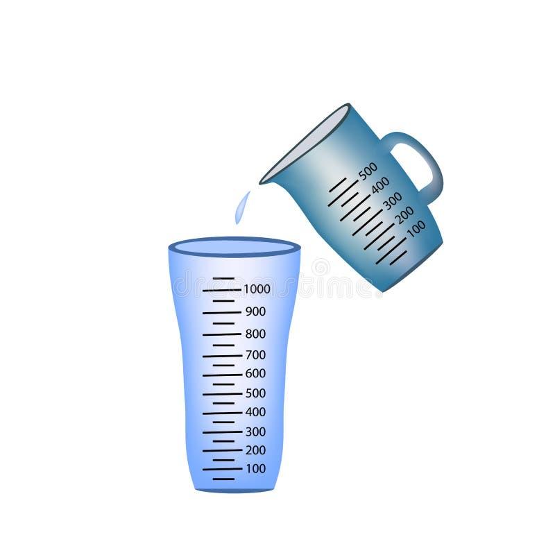 becher Cuvette de mesure Versement de l'eau de tasses de mesure dans un verre Illustration de vecteur sur le fond illustration de vecteur