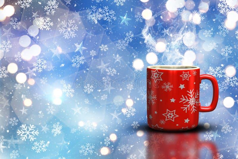 Becher des Weihnachten 3D auf einem bokeh beleuchtet Hintergrund vektor abbildung