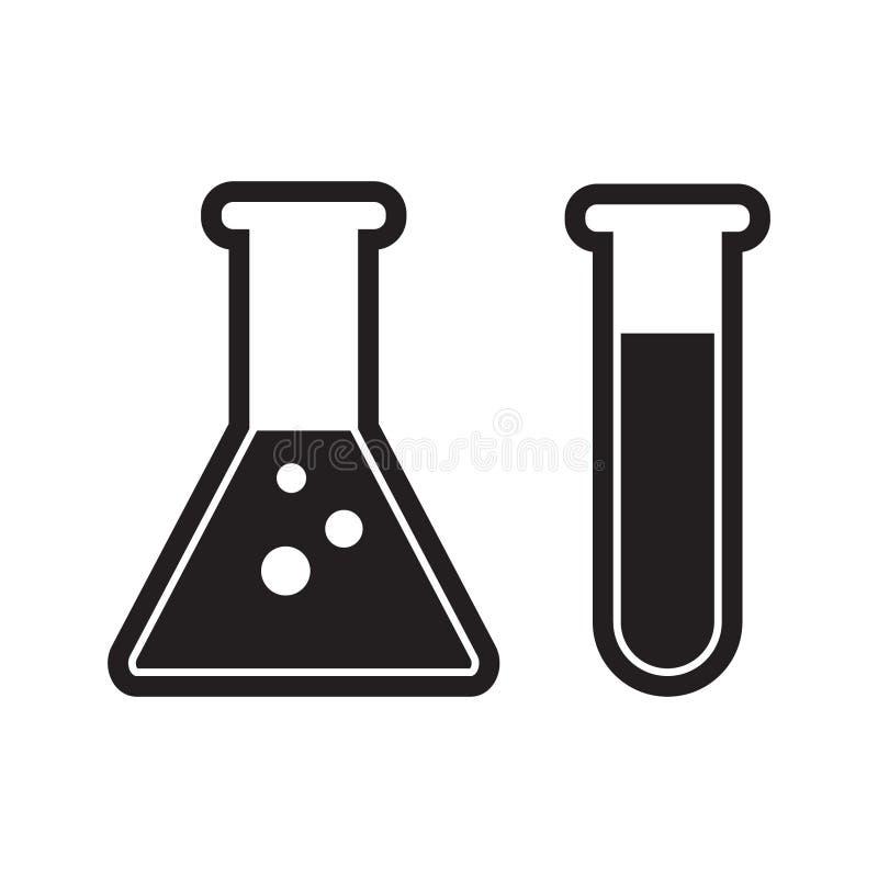 Becher di chimica con il flacone erlenmeyer e la provetta che tengono l'icona piana dei prodotti chimici per i apps ed i siti Web royalty illustrazione gratis