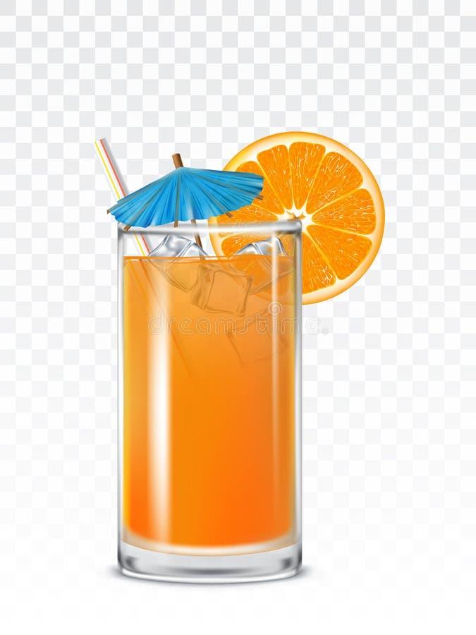 Becher en verre avec le jus d'orange, les glaçons et une paille illustration stock