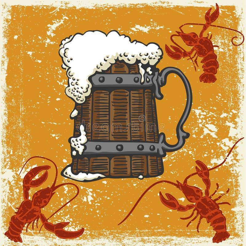 Becher mit Bier und Panzerkrebsen vektor abbildung