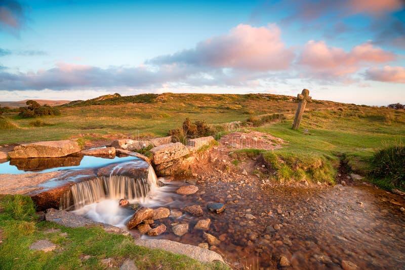 Beckamoorkruis op Dartmoor royalty-vrije stock afbeeldingen