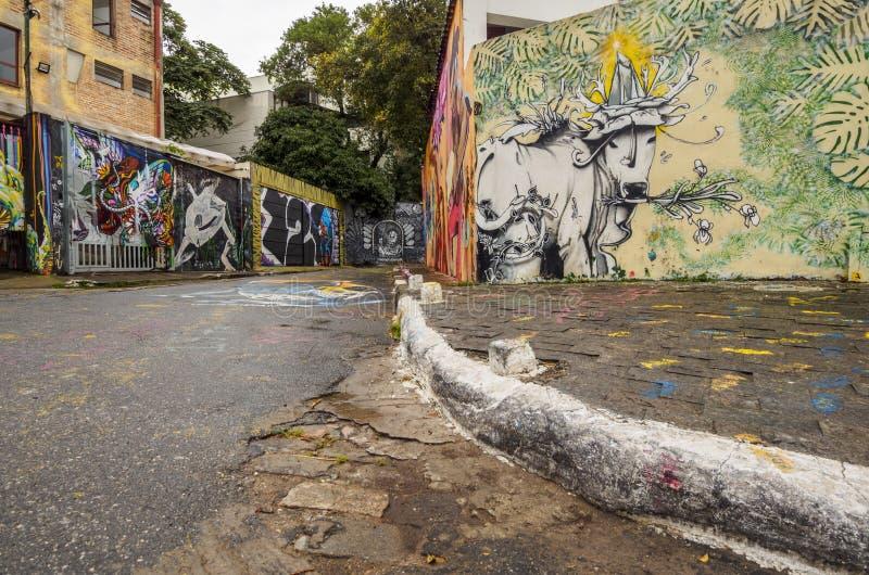 Beco gör Batman i Sao Paulo, Brasilien arkivbilder