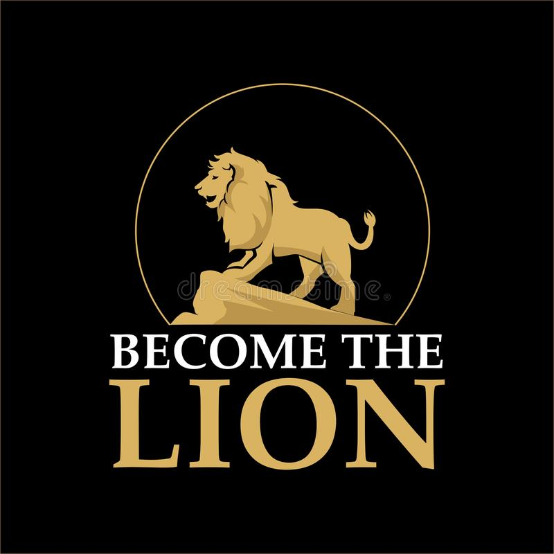 Become the Lion T shirt Design. With roaring lion silhouette in black background vector illustration