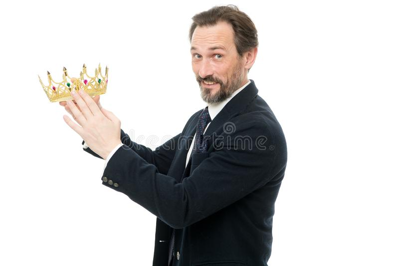 Become next king. Monarchy family traditions. King attribute. Man nature bearded guy in suit hold golden crown symbol of. Monarchy. Direct line to throne royalty free stock photo