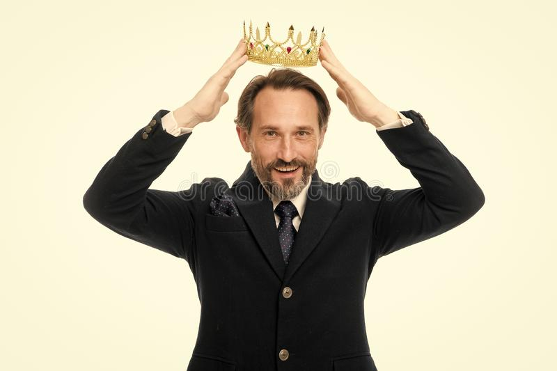 Become next king. Monarchy family traditions. Man nature bearded guy in suit hold golden crown symbol of monarchy stock photo