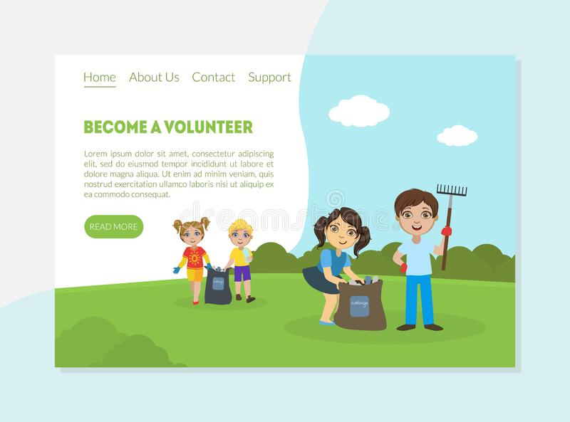 Become a Volunteer Banner, Landing Page Template, Children Gathering Garbage and Plastic Waste for Recycling vector illustration