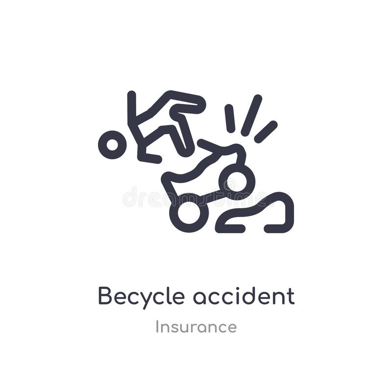 becycle accident outline icon. isolated line vector illustration from insurance collection. editable thin stroke becycle accident royalty free illustration