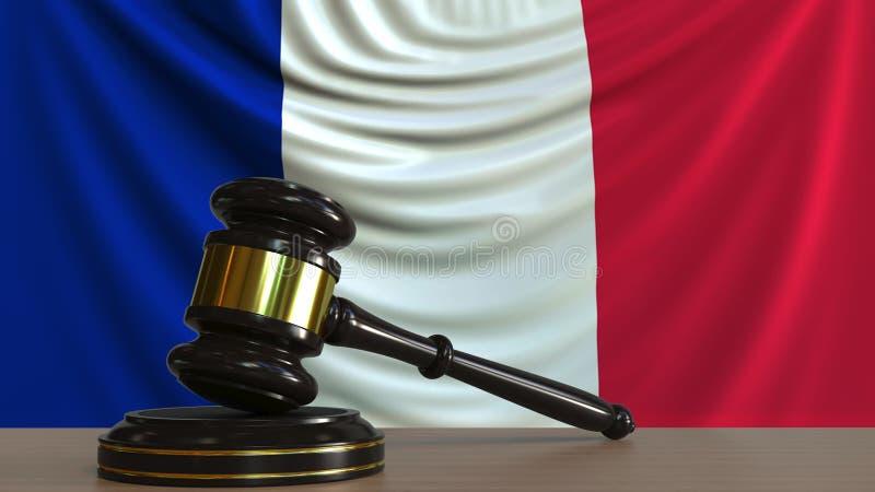 Bedöma auktionsklubban och kvarteret för ` s mot flaggan av Frankrike Franskan uppvaktar den begreppsmässiga tolkningen 3D stock illustrationer