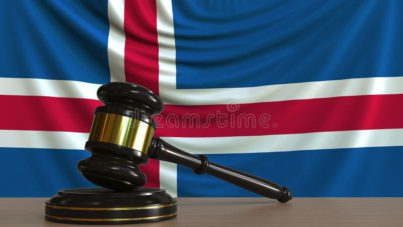 Bedöma auktionsklubban och kvarteret för ` s mot flaggan av Island Begreppsmässig tolkning 3D för isländsk domstol stock illustrationer