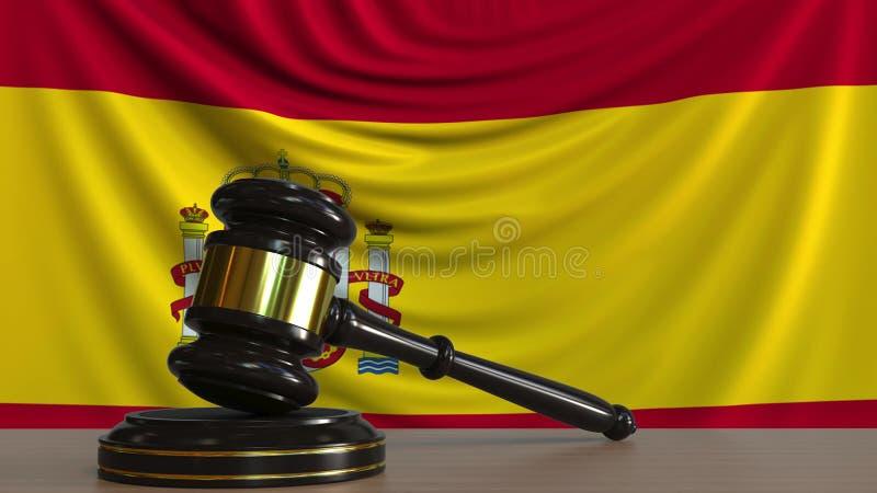 Bedöma auktionsklubban och kvarteret för ` s mot flaggan av Spanien Spanjoren uppvaktar den begreppsmässiga tolkningen 3D royaltyfri illustrationer