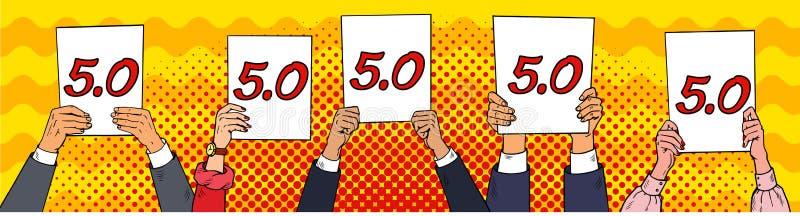 Bedömning av domare Utvärdering för håll för skiljemän för popkonst Vektorillustration i komisk stil vektor illustrationer