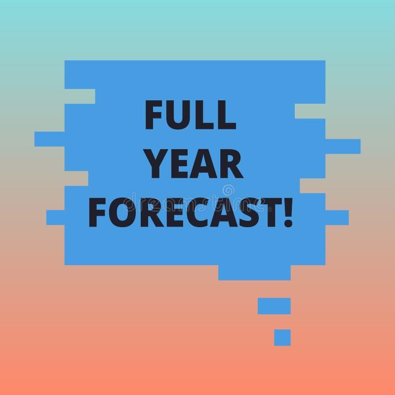 Bedömningen för betydelsen för begreppet för prognosen för året för handskrifttext formulerar den fulla av aktuell finansiell per royaltyfri illustrationer