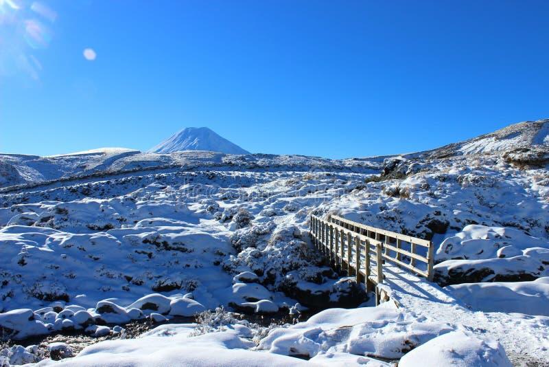 Bedöva den Ruapehu vulkan med bygd i vinter arkivfoton