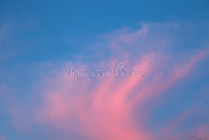 Bedöva färgrik skymninghimmel på soluppgång med ljusa vibrerande rosa färger fördunkla royaltyfri foto