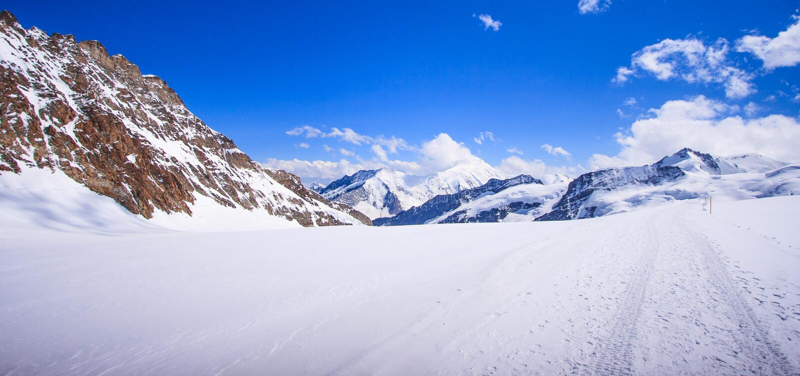 Bedöva härlig panoramautsikt av det Snowcapped landskapet för Bernese bergfjällängar i den Jungfrau regionen, Bernese Oberland, S arkivbild
