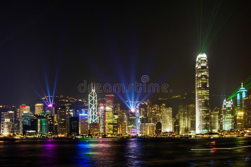 Bedöva ljus show i Hong Kong. arkivfoto