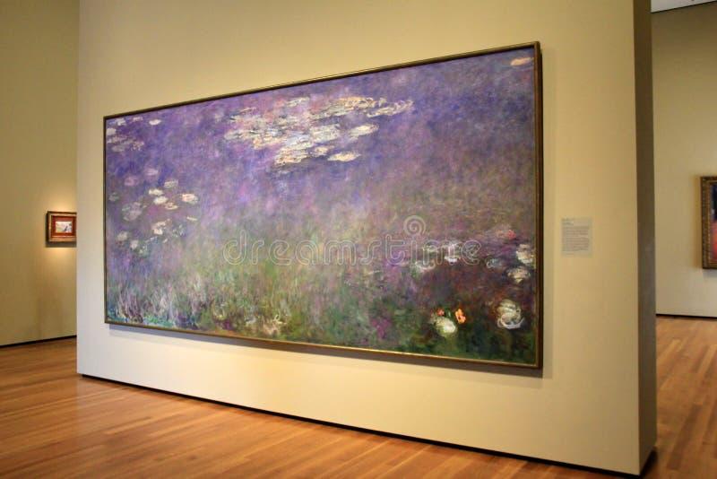 Bedöva mästerverket, Monets näckrors, Cleveland Art Museum, Ohio, 2016 royaltyfria foton