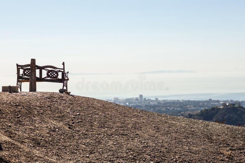 Bedöva panoramautsikt av västra Los Angeles från den Kenter slingan fotvandra i Brentwood Förbise Santa Monica, Beverly Hills fotografering för bildbyråer