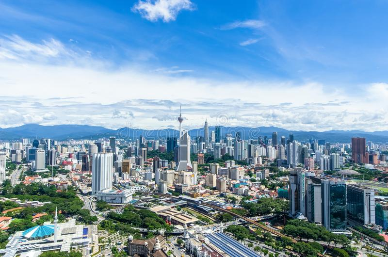 Bedöva sikt av Kuala Lumpur cityscape Kuala Lumpur är huvudstaden av Malaysia royaltyfria foton