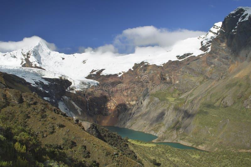 Bedöva sikt av sjön Tullpacocha med glaciärerna av monteringen Tullparahu på Cordillera Blanca, Peru royaltyfri fotografi