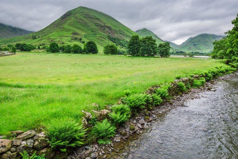Bedöva sikt till den dimmiga och gröna område sjön, UK arkivfoton
