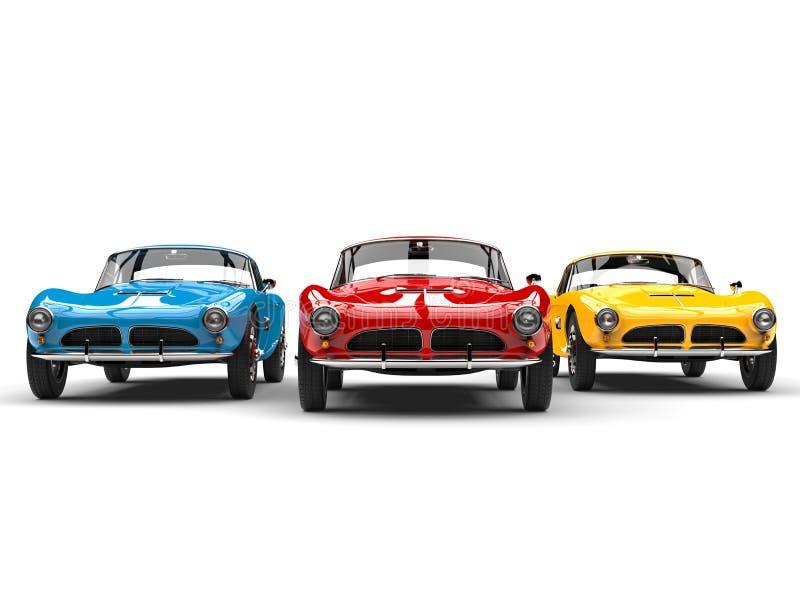 Bedöva tappningsportbilar i ljusa röda, blåa och gula färger royaltyfri illustrationer