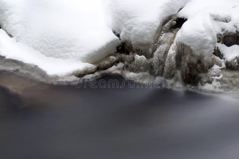 Bedöva vinterlandskap, snöar stenar på den täckte vintriga floden royaltyfria bilder