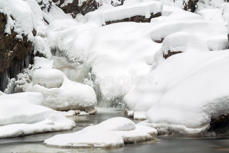 Bedöva vinterlandskap, snöar stenar på den täckte vintriga floden a arkivbilder