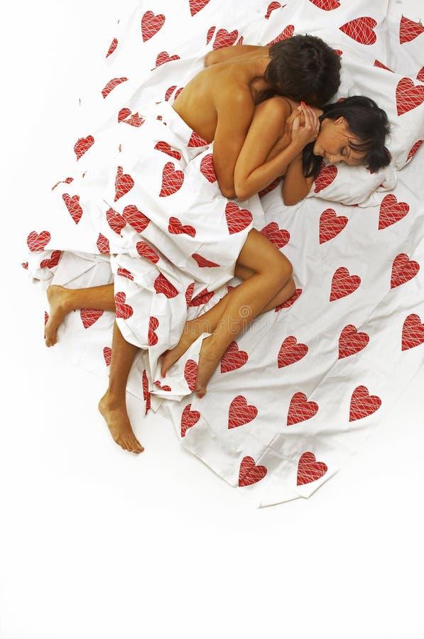 In bed stock afbeelding