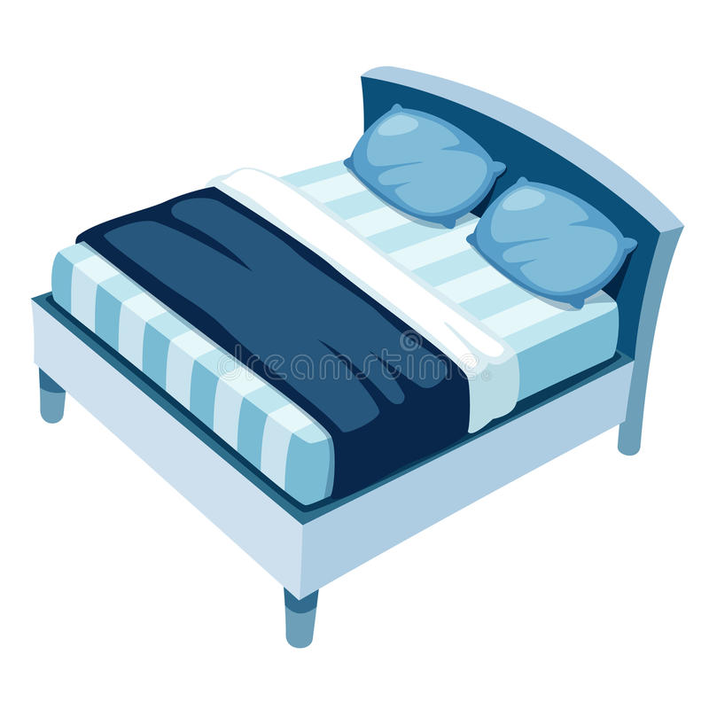 Bed. Illustration of bed on white background