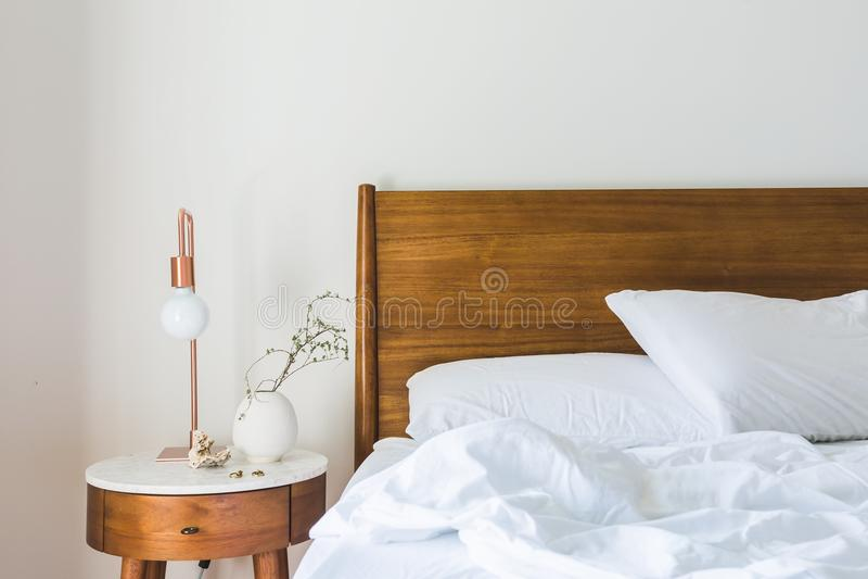 Bed, Bedroom, Blanket stock image