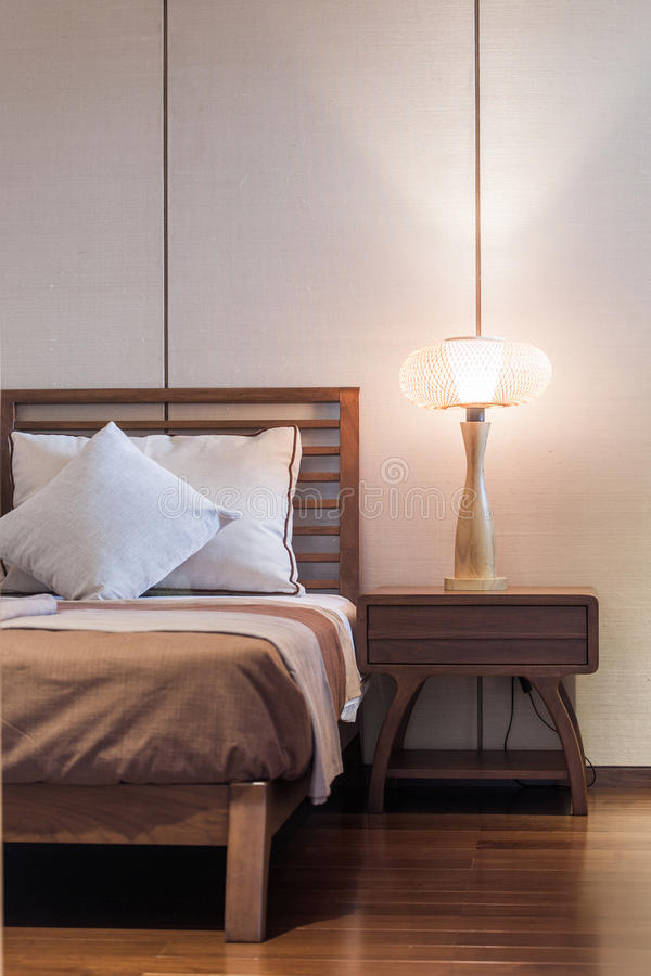 Download Bed and bedroom stock photo. Image of furniture, lamp - 41821954
