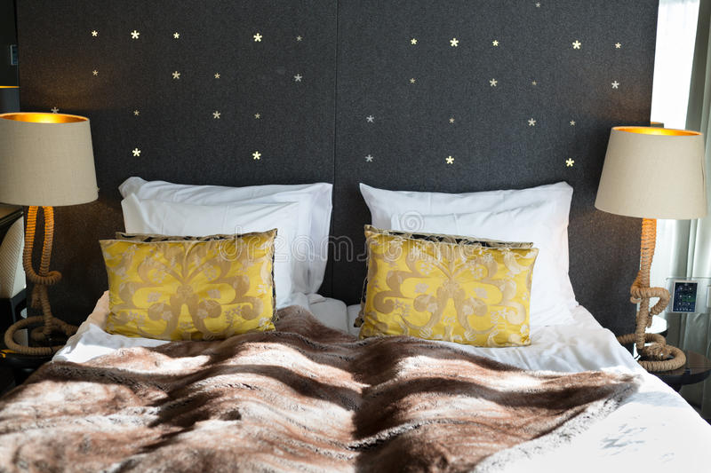Bed, Bedroom in a luxury hotel. stock photography