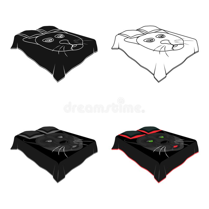 A Bed With A Black Coverletd With A Black Cat On The Blanketd