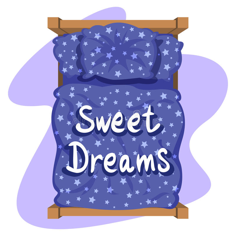 Bed with blue linen, top view. Blue bedclothes with stars. Blanket and pillow. Vector illustration vector illustration
