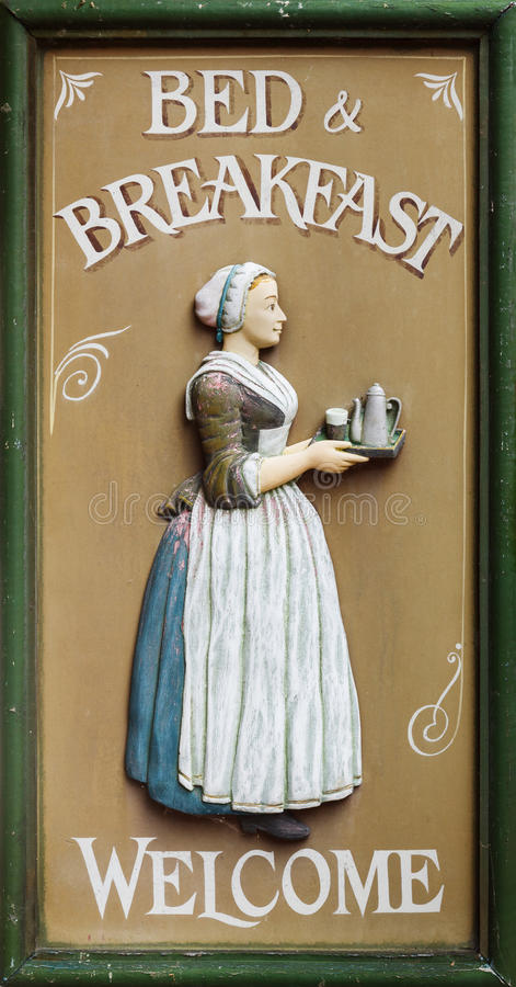 Bed and breakfast sign. stock image