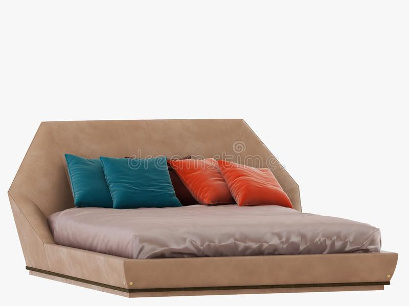 Bed with color pillows 3d rendering on a white background royalty free illustration