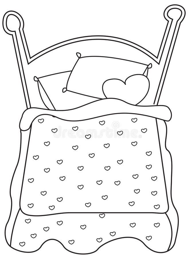 download bed coloring page stock illustration illustration of comic 52718655 - Bed Coloring Pages