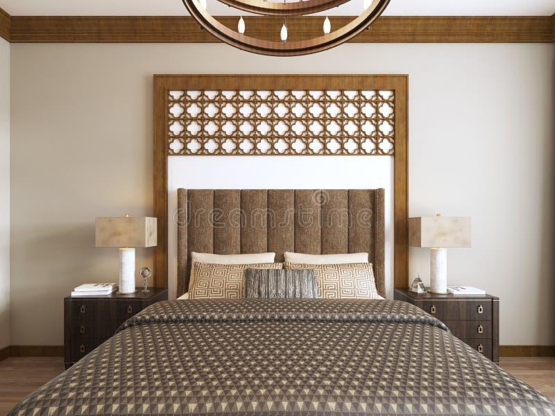 Bed in de stijl Van het Middenoosten met houten gesneden hoofdeinde en bed Arabische textiel royalty-vrije illustratie