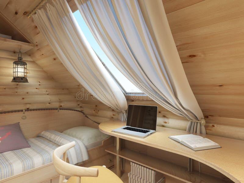 Bed en bureau in de ruimte van de kinderen in een logboekhuis in de zolder stock illustratie