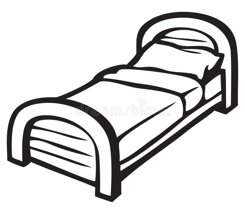 Bed en hoofdkussen vector illustratie
