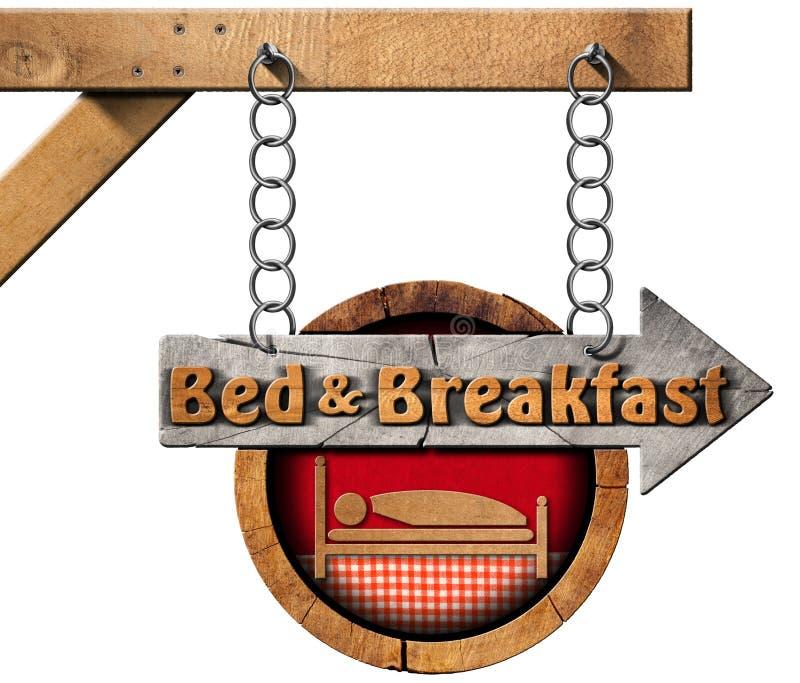 Bed - en - ontbijt - Teken met Ketting royalty-vrije illustratie