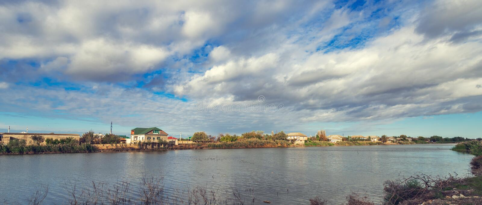 Bed of the flat river stock image