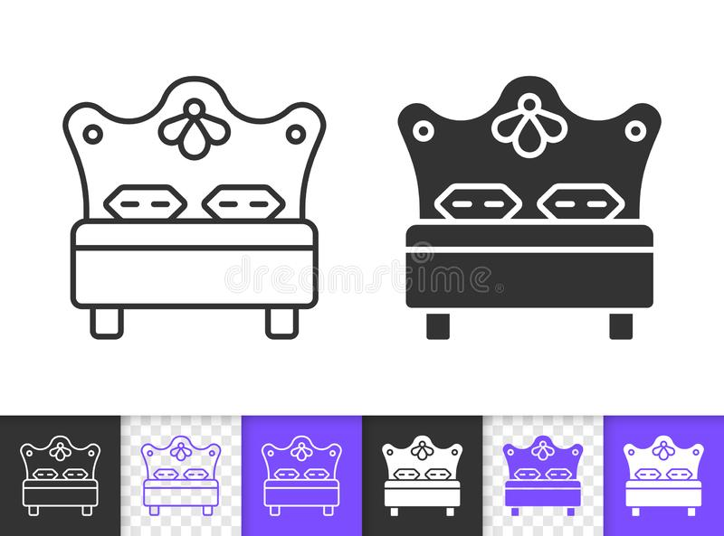 Bed hotel bedroom hostel black line vector icon. Bed black linear and silhouette icons. Thin line sign of hotel. Bedroom outline pictogram isolated on white stock illustration