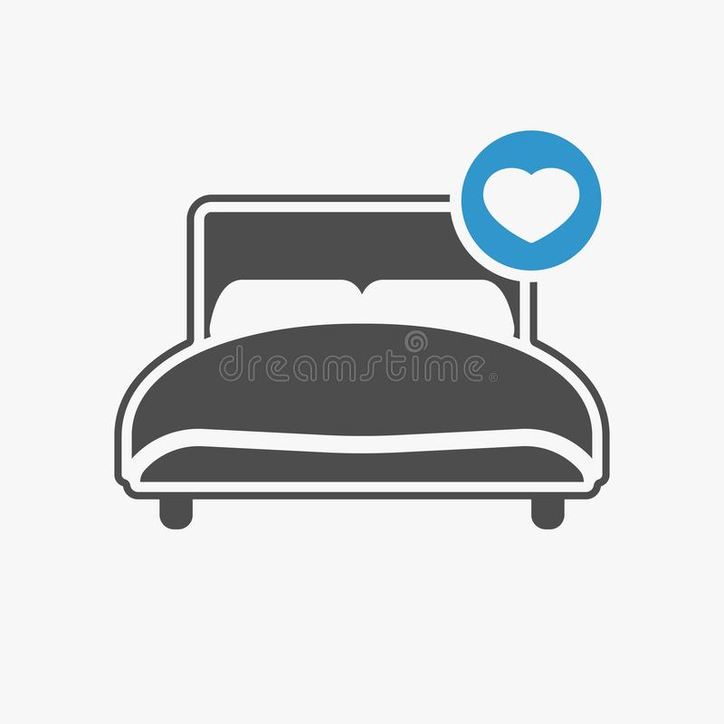 Bed icon with heart sign. Bed icon and favorite, like, love, care symbol. Vector illustration royalty free illustration
