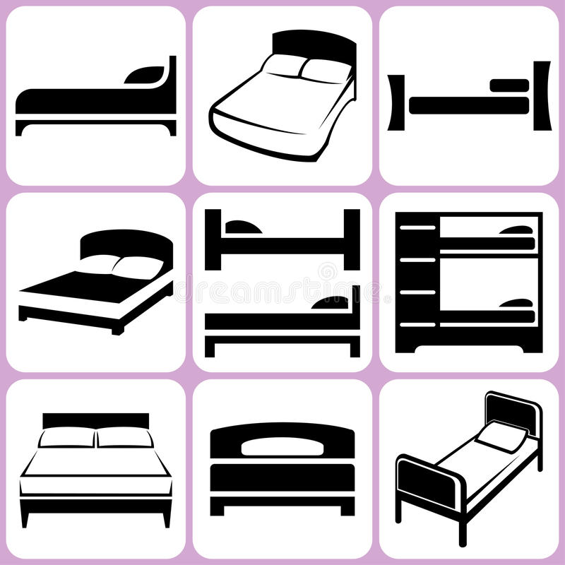 Download Bed Icons Set stock vector. Image of button, bedtime - 36011392